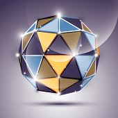 foto of orbs  - Abstract 3D gleam sphere with geometric glossy orb created from triangles eps10 - JPG