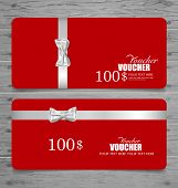 stock photo of bowing  - Gift coupons with gift bows and ribbons - JPG
