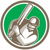 stock photo of cricket bat  - Illustration of a cricket player batsman with bat batting facing front set inside circle done in retro style on isolated background - JPG