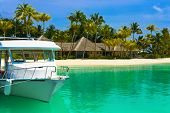picture of kuramathi  - Boat moored at tropical island  - JPG