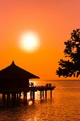 stock photo of kuramathi  - Water bungalows and sunset  - JPG