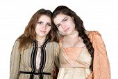 picture of wench  - two brunette young girls dressed as princess - JPG