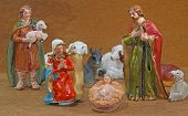 picture of manger  - Mary and Joseph with the child Jesus in the manger with some animals - JPG