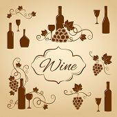 pic of vines  - Vintage wine design elements for a menu with wine bottles  goblets  wineglasses and bunches of grape with vine leaves in sepia and brown  vector silhouette - JPG