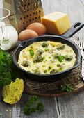 picture of brussels sprouts  - Casserole with brussels sprouts and cheese in a frying pan - JPG
