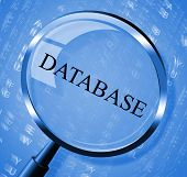 stock photo of byte  - Database Magnifier Indicating Info Information And Byte - JPG