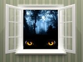 picture of werewolf hunter  - Eyes of monster  in open window - JPG