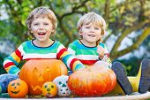 pic of happy halloween  - Two little kid brother boys making jack - JPG
