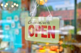 foto of windows doors  - open sign broad through the glass of window at coffee shop - JPG