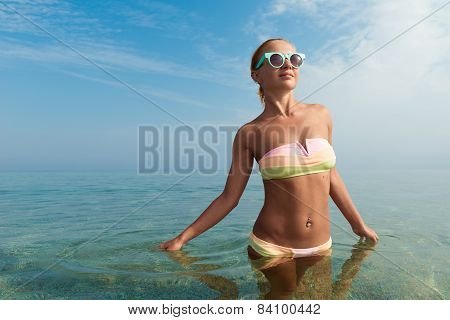 Beautiful woman in the sea