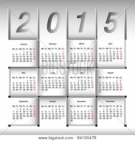 2015 Year Calendar. Week Starts With Monday.