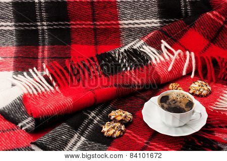 Blanket, A Cup With Coffee And Cookies
