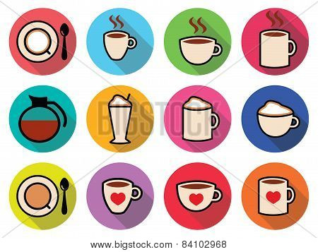 Coffee vector icons set in color