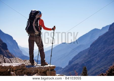 Hiker on the trek in Himalayas Khumbu valley Nepal