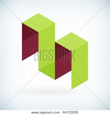 Modern Letter M Icon Flat Design Element Template