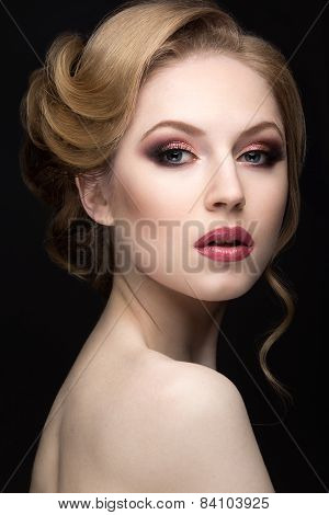 Portrait of a beautiful blond woman in the image of the bride. Beauty face