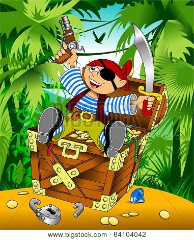 Funny Pirate And Treasure