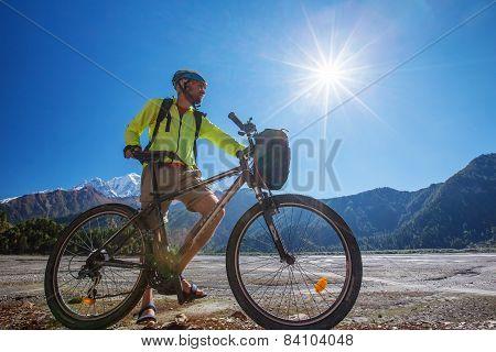 Biker-boy in Himalaya mountains Anapurna region