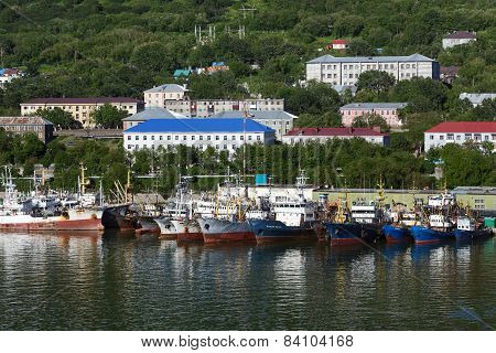 View of port Petropavlovsk-Kamchatsky and ships standing at the pier