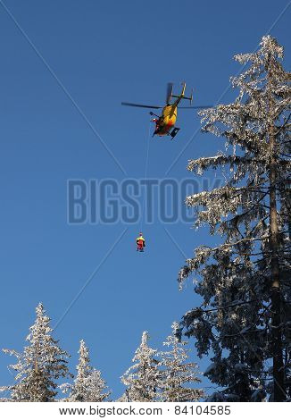 Alpine Rescue Helicopter Flies Up