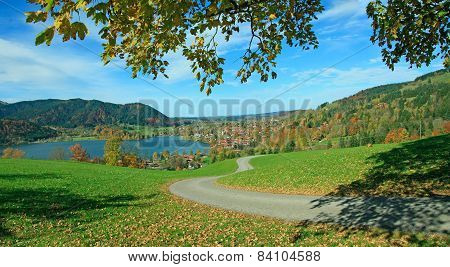 Hiking Route Above Schliersee Village In The Bavarian Alps