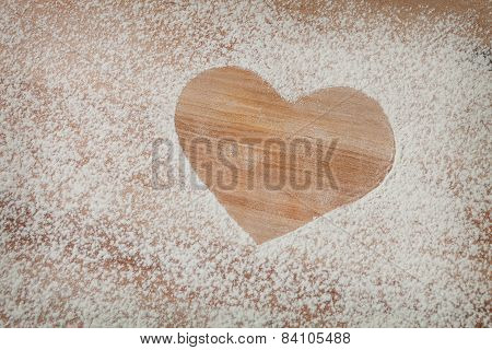 The Heart Of The Flour On The Table From The Old Boards