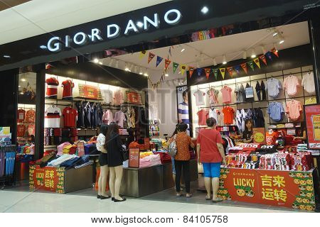 Customers Visit Giordano Store To Buy Cloth