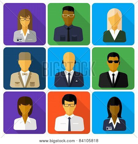 Business set of stylish avatars woman and man