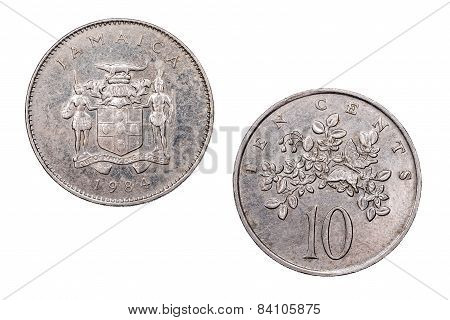 Ten Cents coin from Jamaica dated 1984