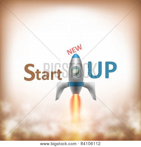 New StartUP Text With Flying Rocket.