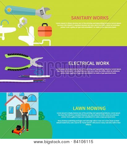 Sanitary, electrical work, lawn mowing