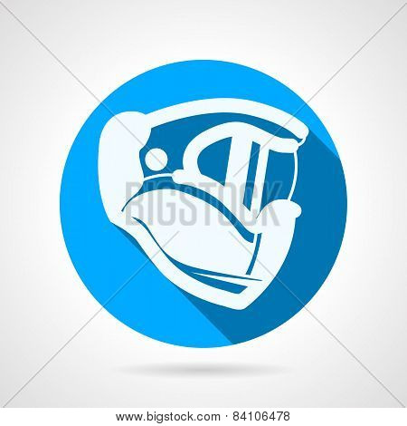 Blue flat vector icon for paintball helmet