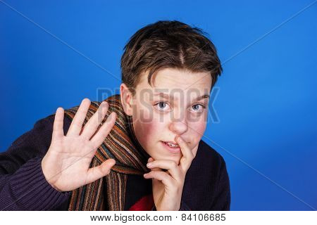 Teenage Boy Close-up Portrait In Studio