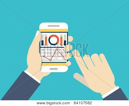 Mobile Phone With Dashboard. Modern User Interface For Businessman