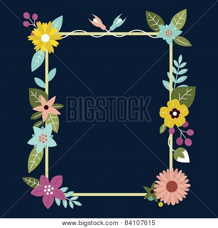 Frame With Flowers. Can Be Used As Creating Card, Invitation Card For Wedding