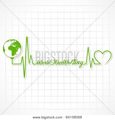 Creative World Health Day Greeting with heartbeat stock vector