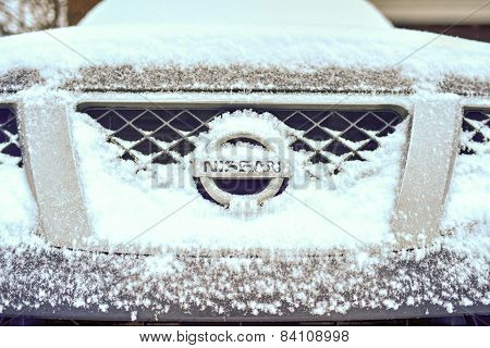 Nissan Pickup In Winter Snow