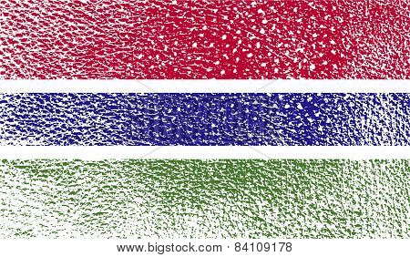 Flag Of Gambia With Old Texture. Vector