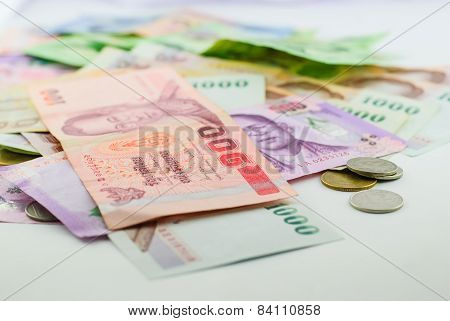 Thai Money Banknotes And Coins