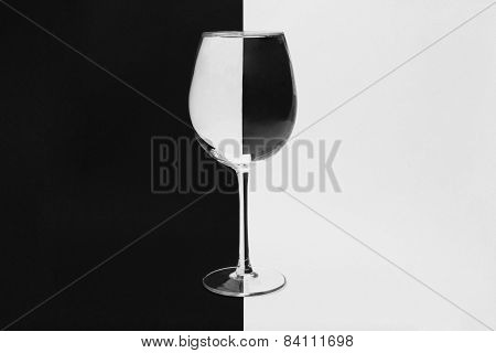 Black and white wineglass