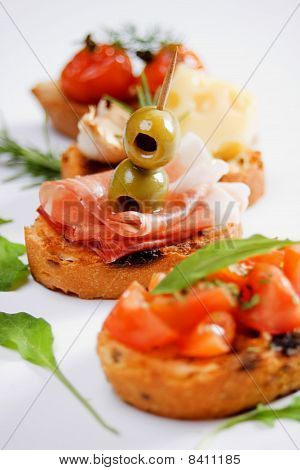 Bruschette, Traditional Italian Appetizer Food