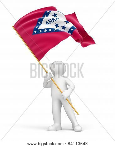 Man and flag of Arkansas (clipping path included)