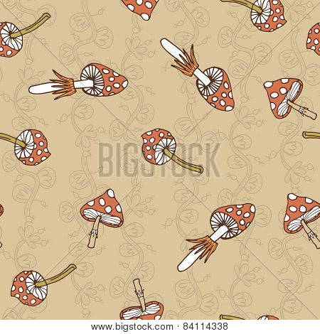 Seamless Vector Pattern Of Amanita