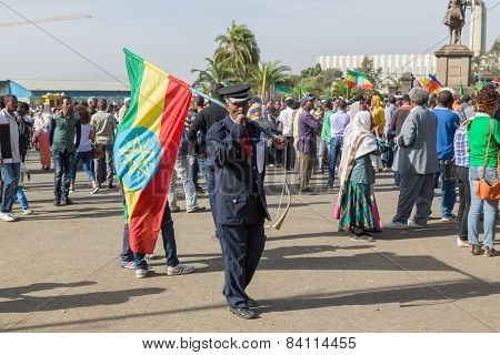 A War Veteran Carries A Large Ethiopian Flag At The 119Th Anniversary Adwa Victory
