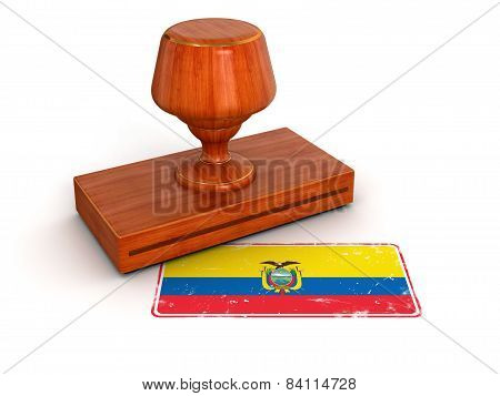 Rubber Stamp Ecuadorian flag (clipping path included)