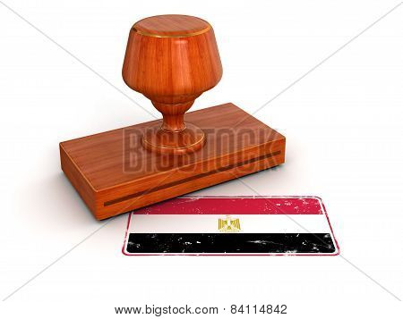 Rubber Stamp Egyptian flag (clipping path included)