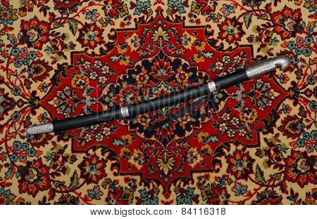 Circassian Cavalry Sword  In A Sheath On The Carpet