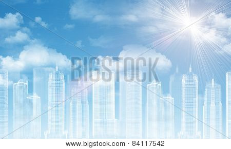 Wire-frame buildings. Bly sky with clouds as backdrop