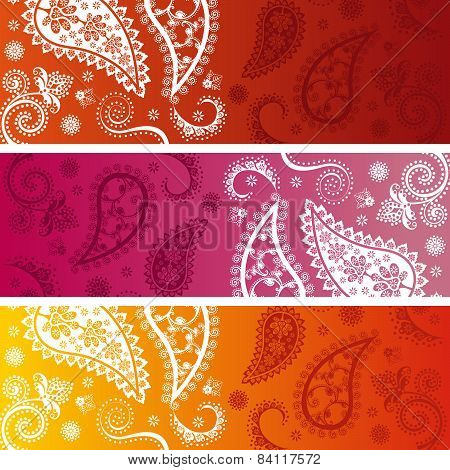 Colorful Indian henna paisley horizontal banners