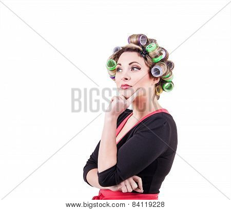 Housewife wearing curlers Portrait
